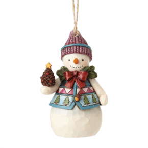 JIM SHORE Mini Snowman with Pinecones Hanging Ornament - 4058831